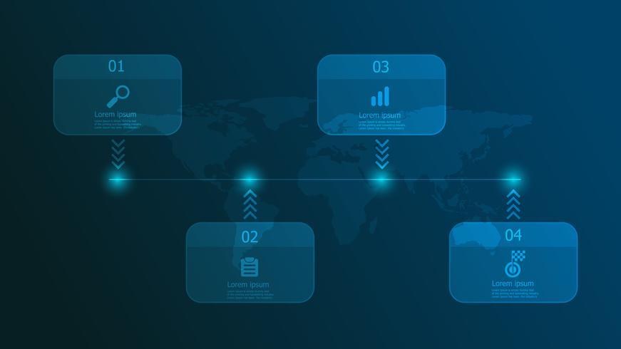 Infografía de línea de tiempo horizontal 4 pasos.