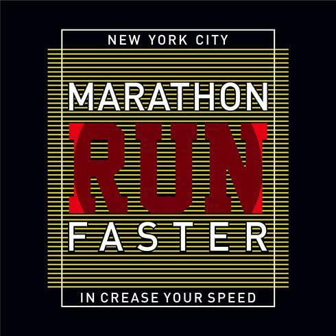 Atletisk sportmaraton ökar din hastighetstypografi, t-shirtgrafik