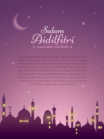 Ramadán de fondo con la mezquita de silueta