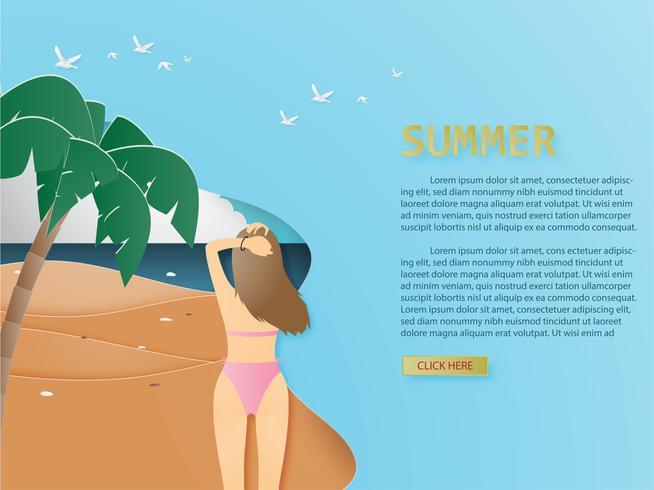 O fundo do verão com vista traseira da moça do biquini no papel tropical da praia e da palma cortou o estilo. vetor