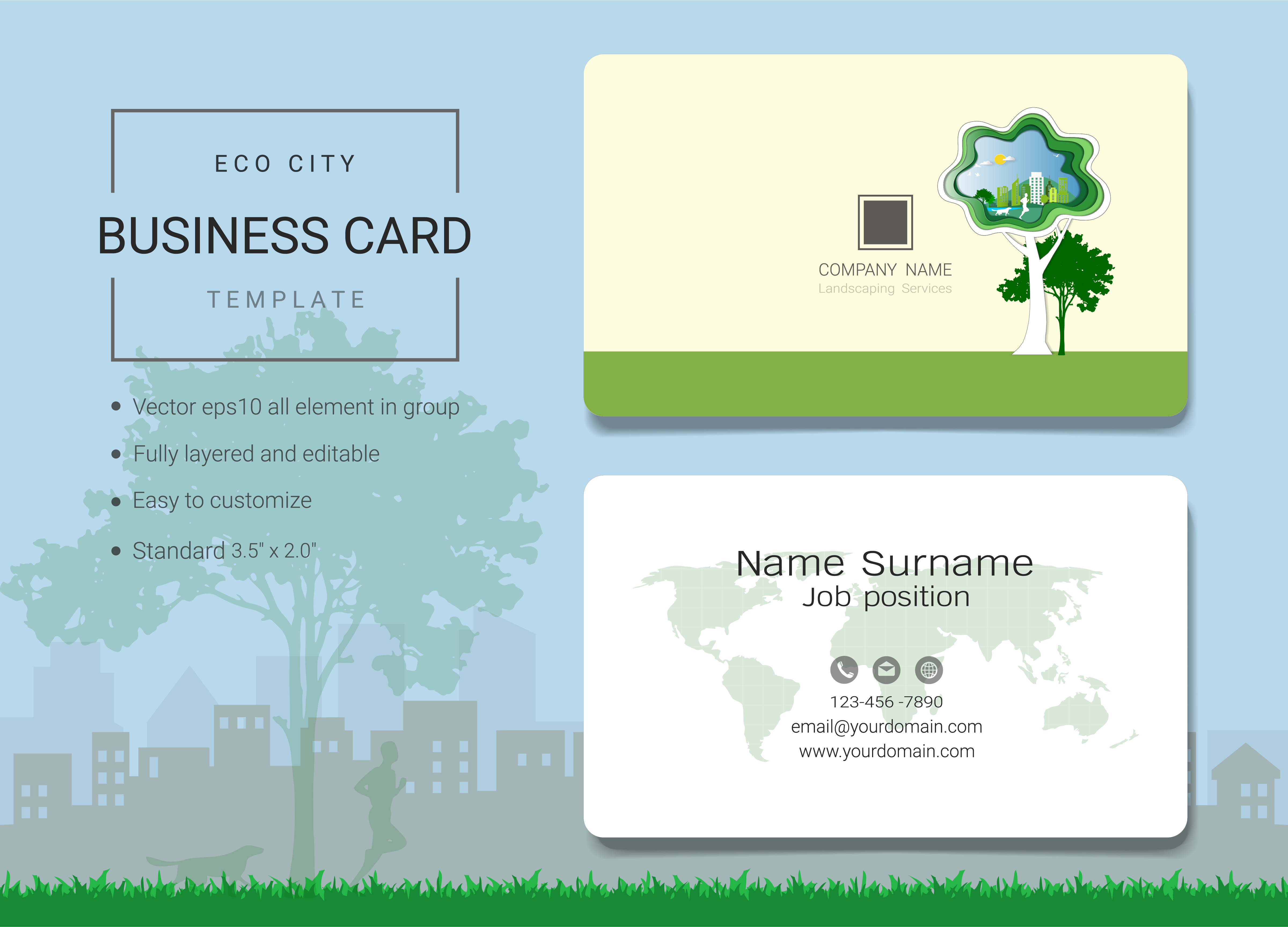 eco city business name card design template  download