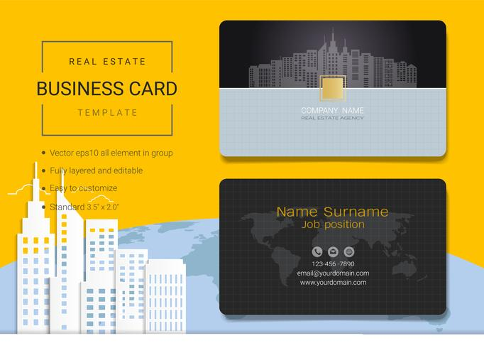 Modello di progettazione di carta di nome di azienda immobiliare.