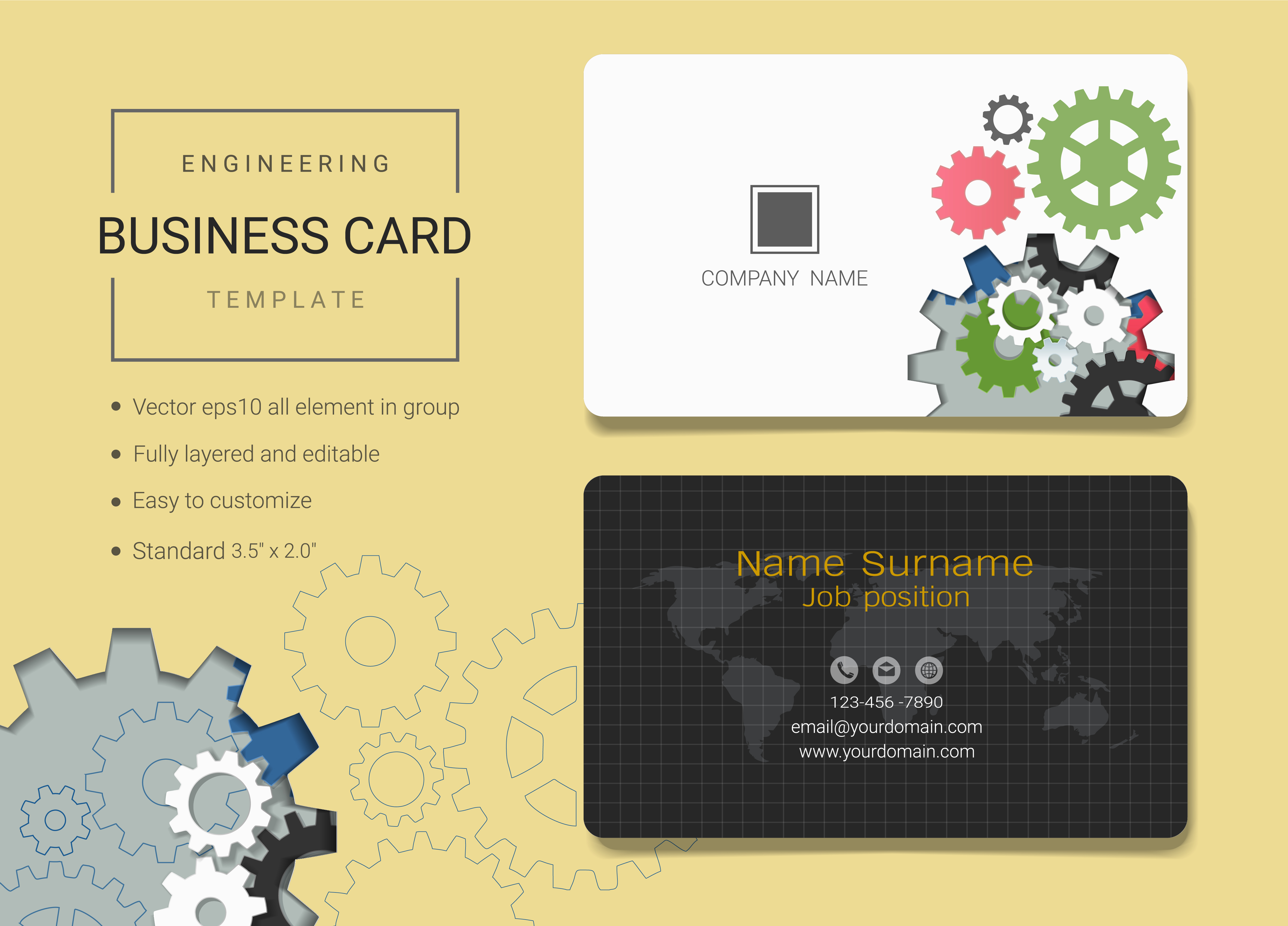 engineering business name card design template  download