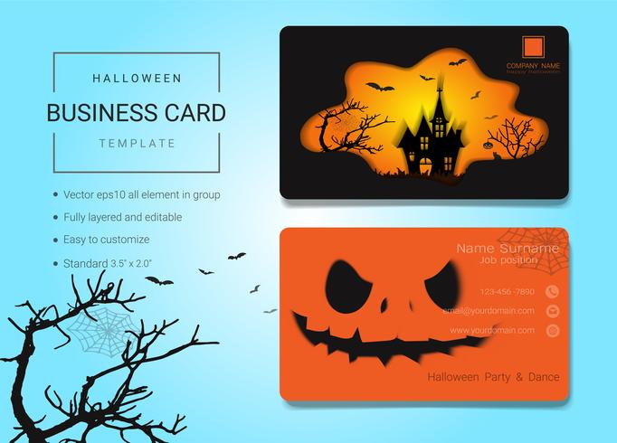 Modelo de design de cartão de nome comercial de Halloween vetor