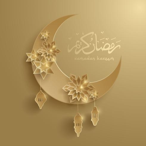 Papiergraphik des islamischen sichelförmigen Mondes