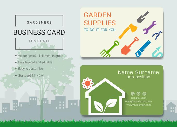 Gardeners business name card design template.