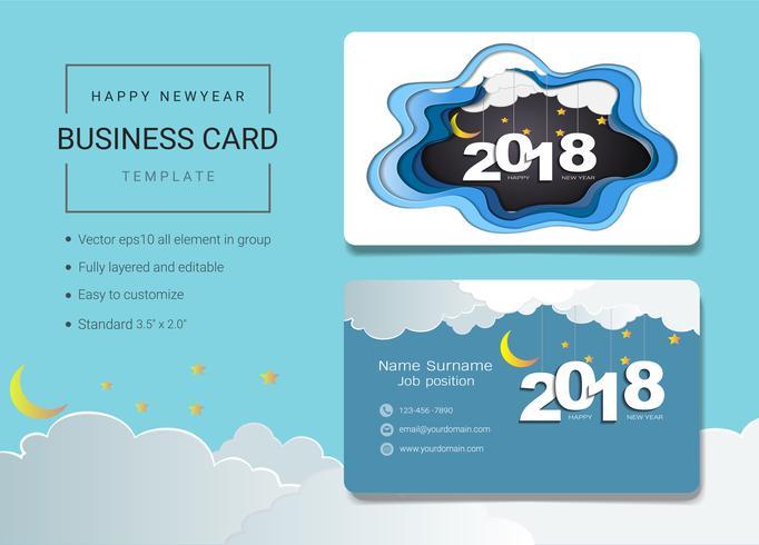 2018 feliz año nuevo plantilla de diseño de tarjeta de nombre comercial.