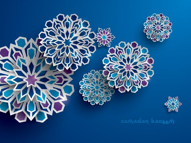 Paper graphic of islamic geometric art vector