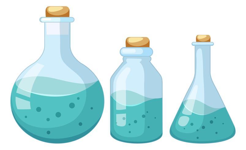 Conjunto de amostra de químico líquido
