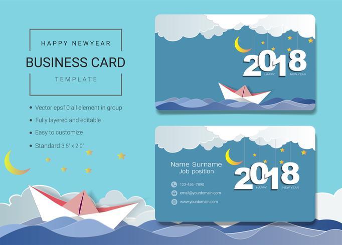 2018 feliz ano novo modelo de design de cartão de nome comercial. vetor