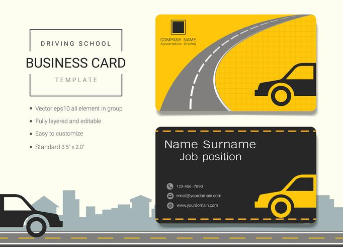 Driving school business name card design template