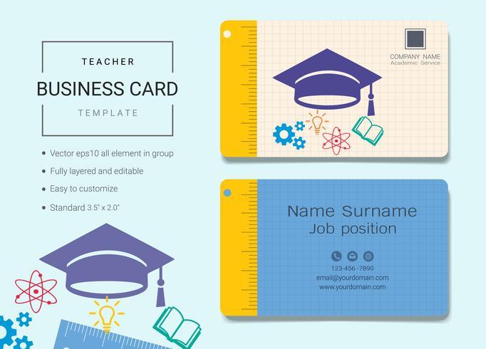 Teacher business name card design template. - Download ...