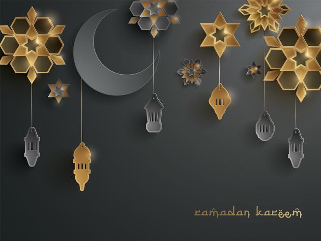 Gráfico de papel de decoración islámica.