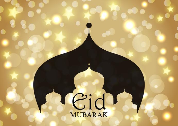 Fundo de Eid Mubarak com silhueta de Mesquita em estrelas de ouro e luzes de bokeh