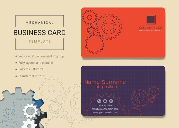 Plantilla de diseño de tarjeta de nombre de negocio mecánico.