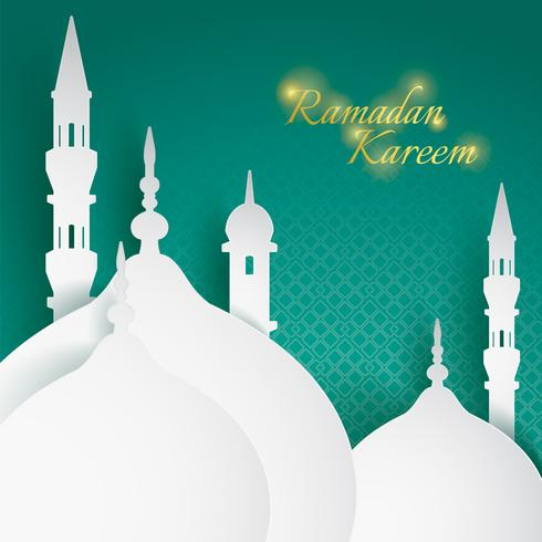 Paper graphic of islamic mosque vector
