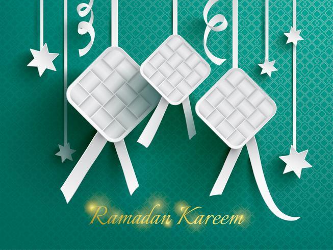 Graphique en papier de ketupat (boulette de riz).