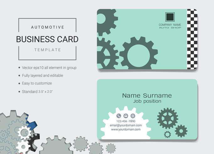 Automotive business name card design template.