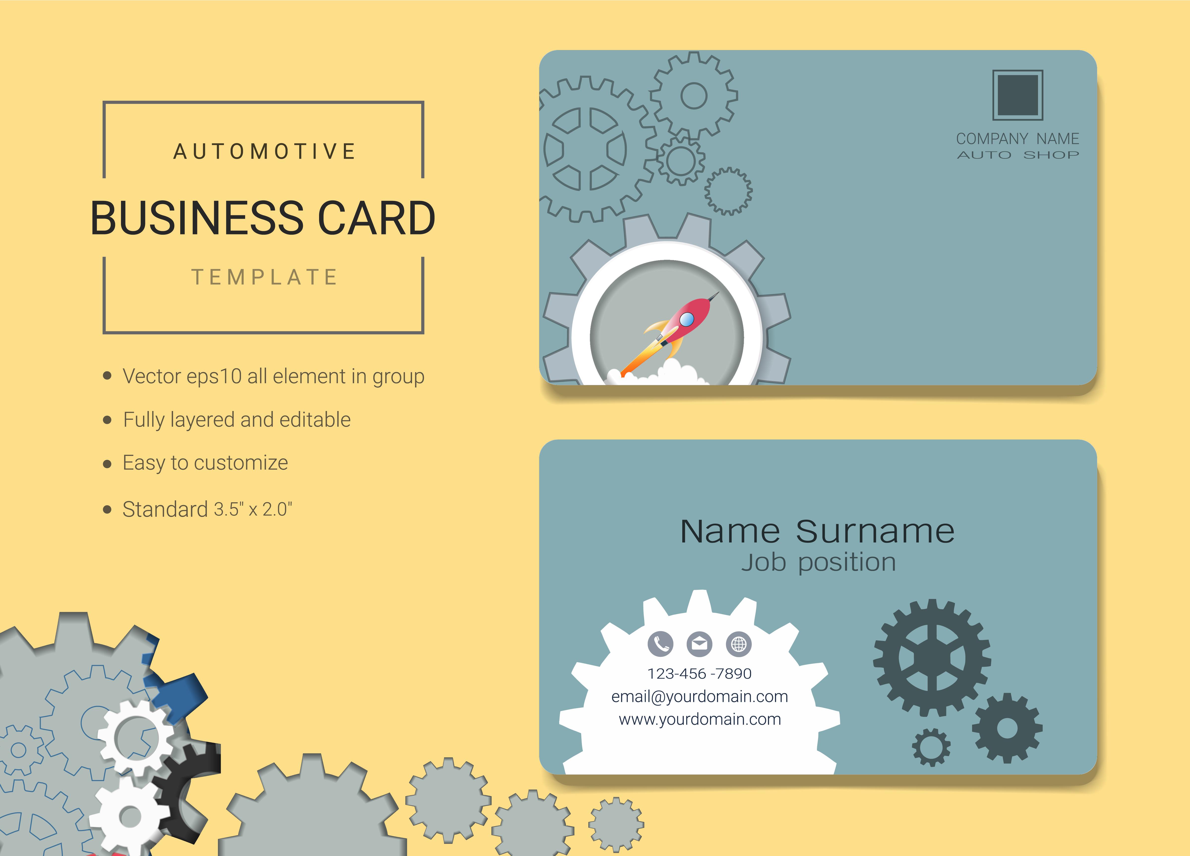 automotive business name card design template 527969