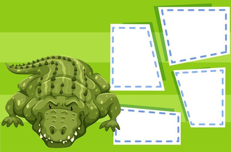 Een krokodil op lege sjabloon
