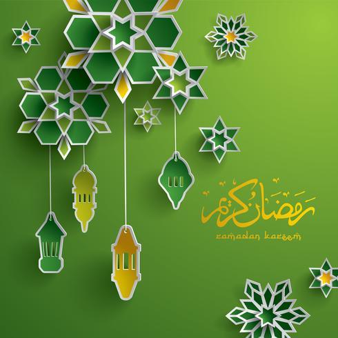 cartão gráfico de papel de ramadan vetor