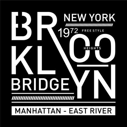 projeto da tipografia da ponte de Brooklyn para o t-shirt
