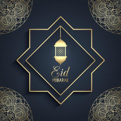 Decorative Eid Mubarak background with hanging lantern