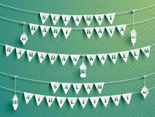 Festive bunting flags with greetings.  vector