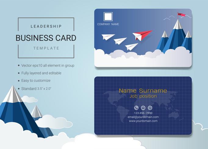 Plantilla de diseño de tarjeta de nombre de negocios de liderazgo.