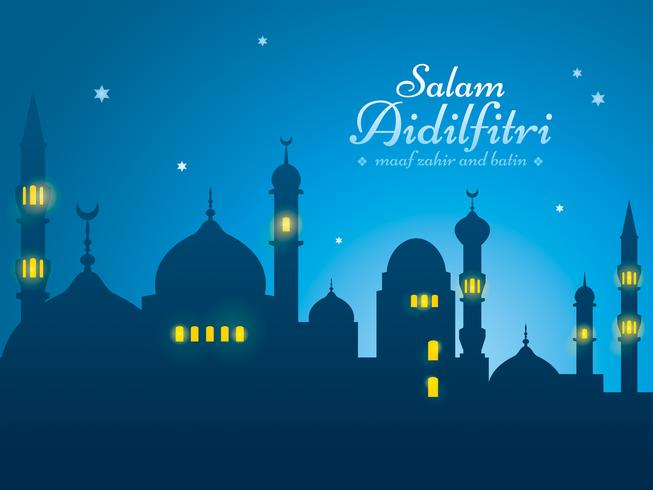 Ramadan background with silhouette mosque