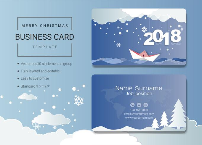 2018 Merry Christmas name card design template.