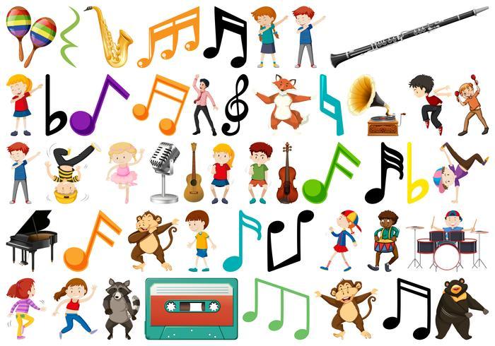 Grupo de niños y nota musical.