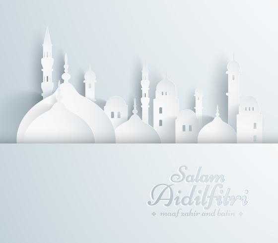 Paper graphic of islamic mosque.  vector