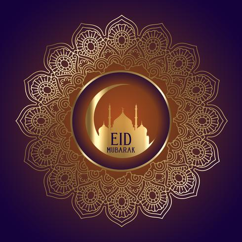 Eid Mubarak-achtergrond met moskeesilhouet in decoratief kader