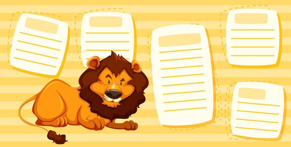 Leeuw op notitiesjabloon