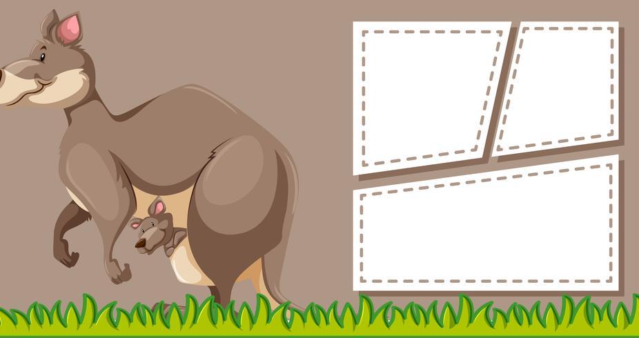 Canguro en plantilla de nota