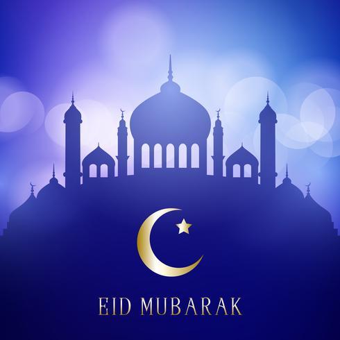Il fondo decorativo di Eid Mubarak con le siluette della moschea su un bokeh accende il disegno
