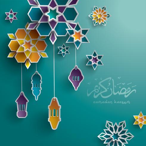 Carte de voeux graphique en papier Ramadan vecteur