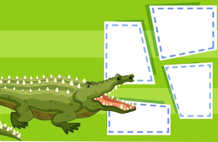 Un cocodrilo en plantilla de nota