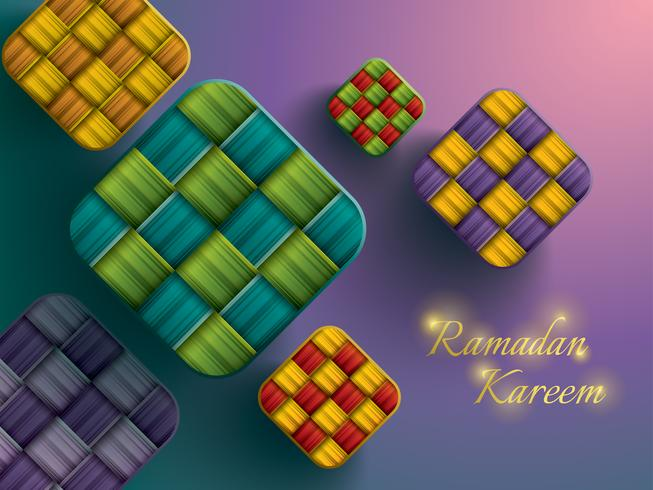 Paper graphic of ketupat (rice dumpling). vector