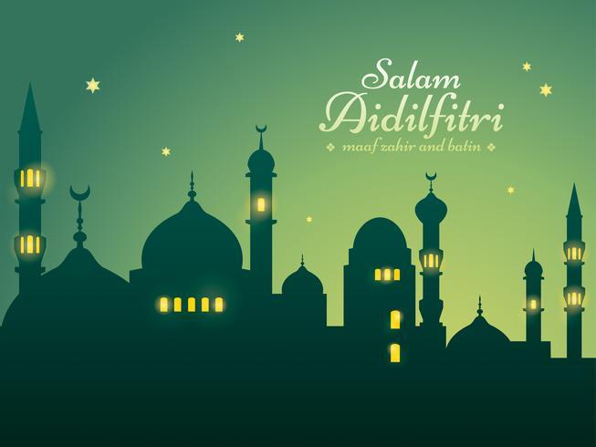 Sfondo di Ramadan con la moschea di sagoma