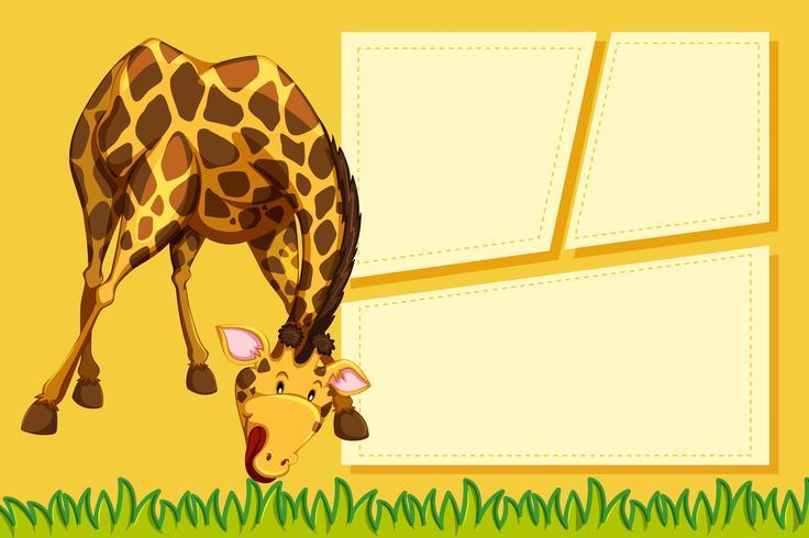 Uma girafa na nota em branco