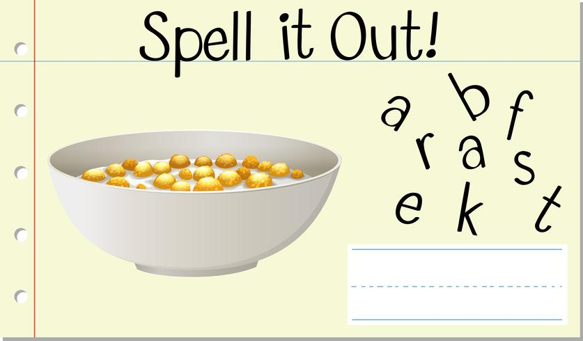 Spell english word breakfast vector