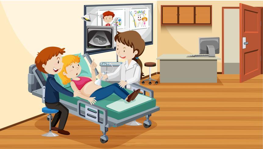 Persone in ospedale facendo ultrasuoni