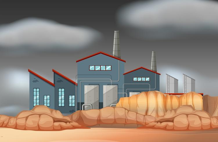 En fabriksbyggnadsplats