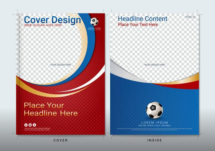Cubrir plantilla de diseño de libro con espacio para evento deportivo. vector