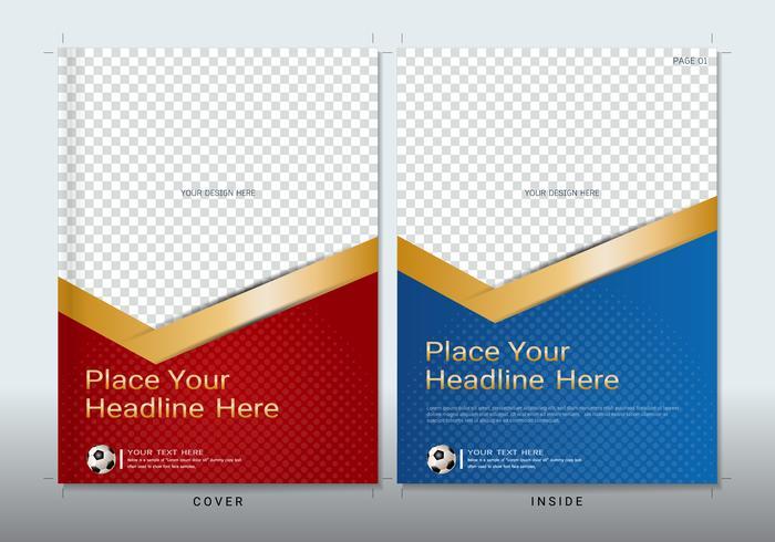 Modello di copertina libro design con spazio per l'evento sportivo.