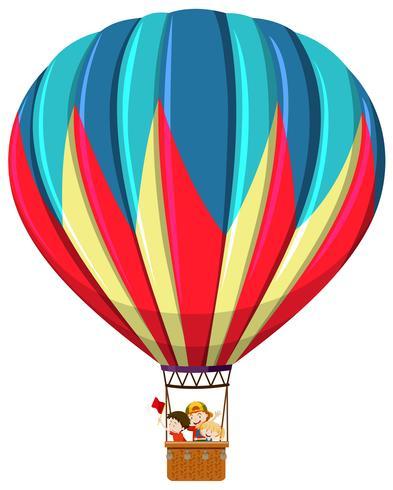 Children riding hot air balloon