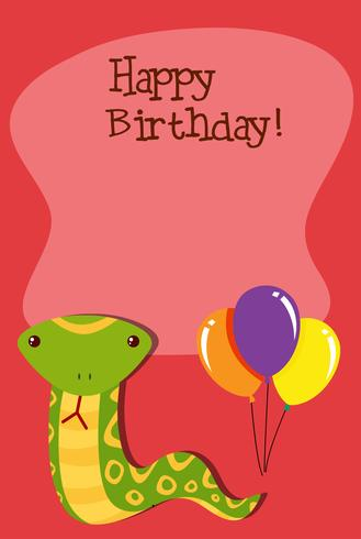 Een slang op verjaardagssjabloon