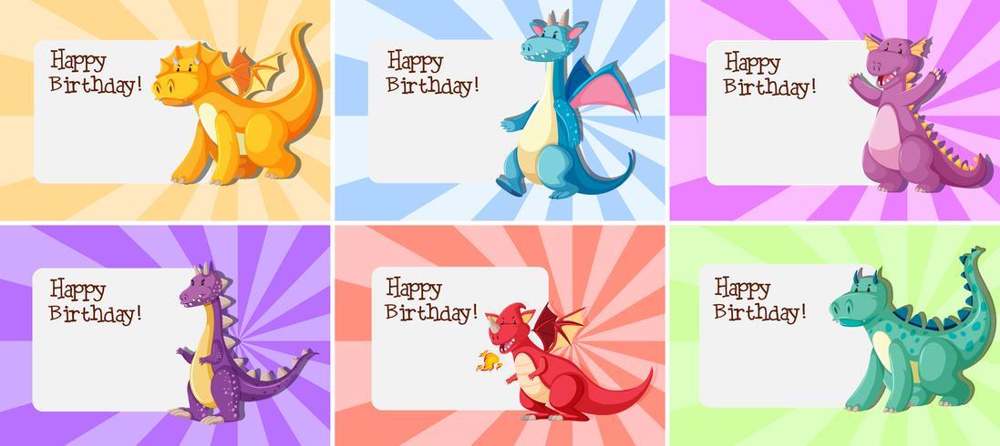 Set of dragon birthday template